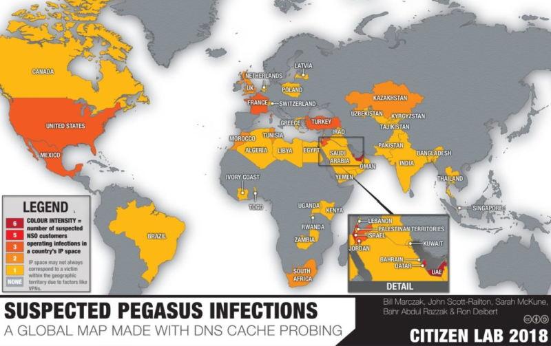 W 2018 roku Citizen Lab ujawniło ślady aktywności Pegasusa także w Polsce (fot. Citizen Lab)